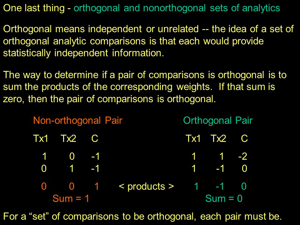 Advantages and Disadvantages of Orthogonal comparison sets Advantages each comparison gives statistically independent information, so the orthogonal set gives the most information possible for that number of comparisons it is a mathematically elegant way of expressing the variation among the IV conditions -- SS IV is partitioned among the comps Disadvantages separate research questions often doesn't translate into statistically orthogonal comparisons (e.g., 1 -1 0 & 1 0 -1) can only have # orthogonal comparisons = df IV the comparisons included in an orthogonal set rarely address the set of research hypotheses one has (e.g., sets of orthogonal analyses usually include one or more complex comparisons)
