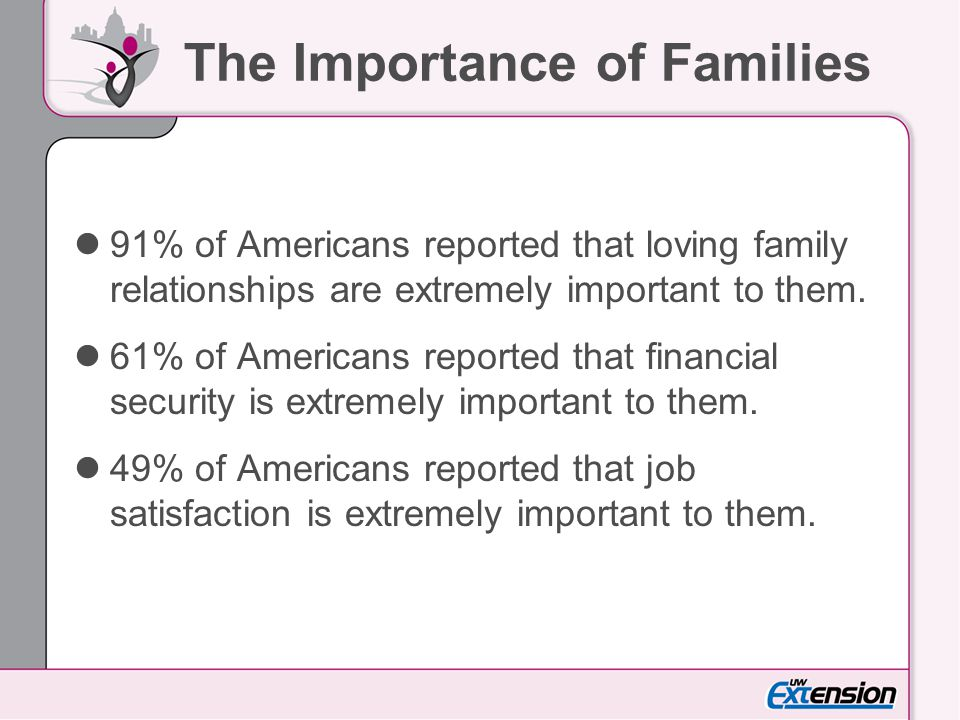 Criteria for Developing Family Policies Family policies are most apt to be enacted and sustained if they: Articulate the valuable service that families provide to society, Make room for the less privileged in universal programs that benefit all, Tap into a secure funding stream, and Secure backing from a voluntary association, preferably one with local, state, and national presence.