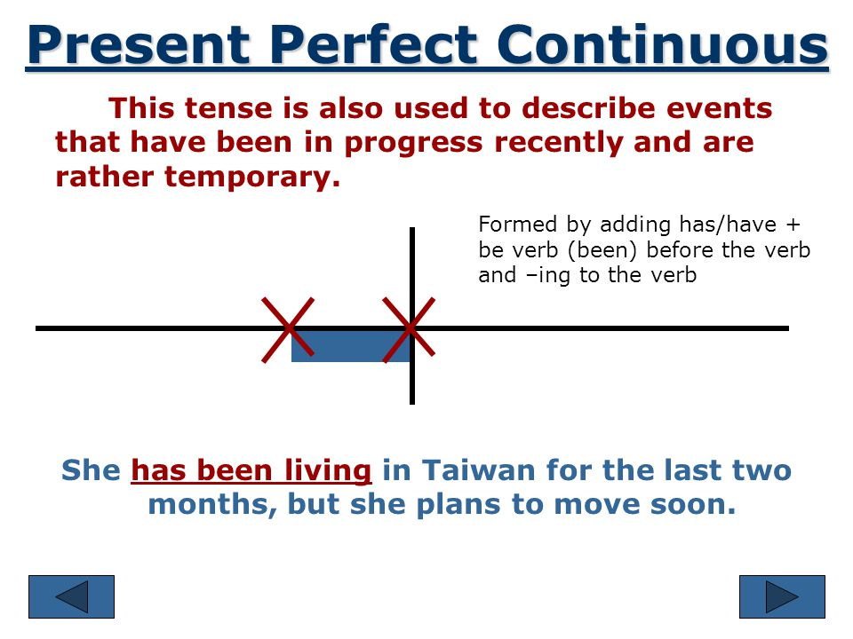 Present Perfect Continuous This tense is used to describe the duration of an action that began in the past and continues into the present. He has been