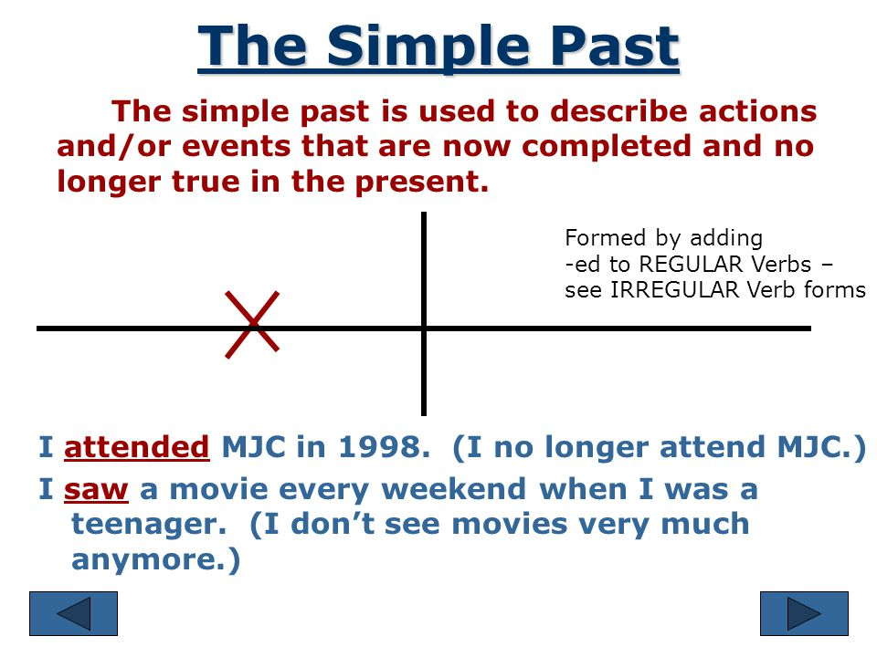 The Simple Past We use the simple past to indicate exactly when an action or event took place in the past. I visited my sister yesterday. We went out