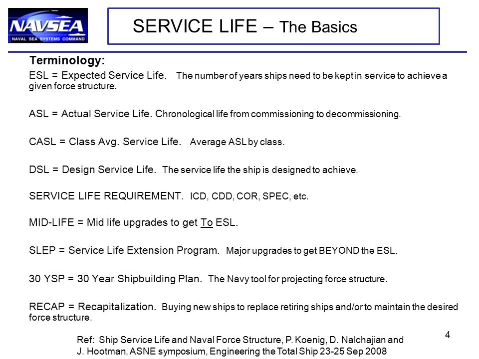 Terminology: ESL = Expected Service Life.