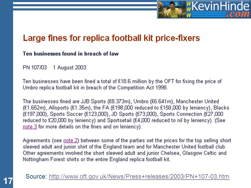 17 Source: http://www.oft.gov.uk/News/Press+releases/2003/PN+107-03.htmhttp://www.oft.gov.uk/News/Press+releases/2003/PN+107-03.htm