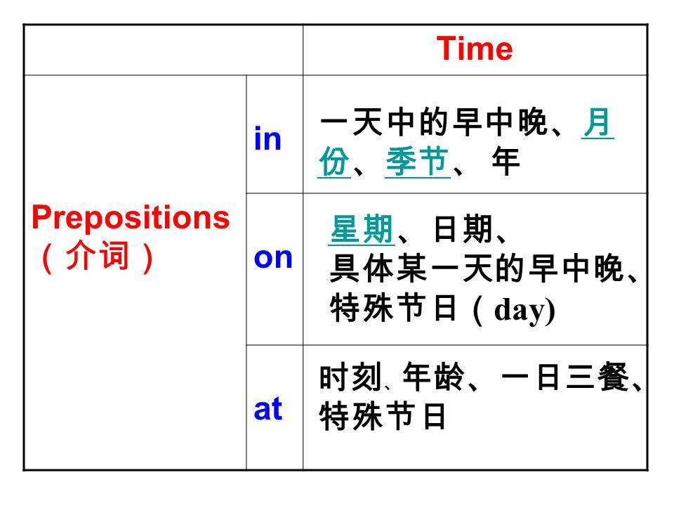 Time Prepositions (介词) in on at 一天中的早中晚、月 份、季节、 年月 份季节 星期星期、日期、 具体某一天的早中晚、 特殊节日( day) 时刻 、 年龄、一日三餐、 特殊节日