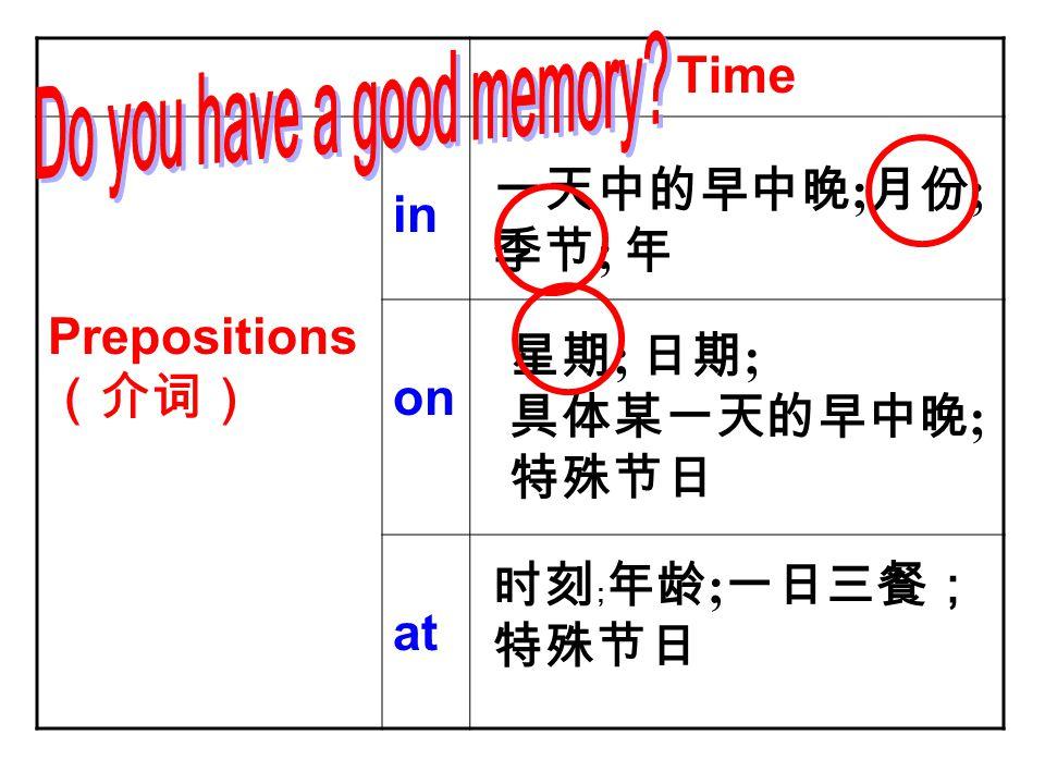 Time Prepositions (介词) in on at 一天中的早中晚 ; 月份 ; 季节 ; 年 星期 ; 日期 ; 具体某一天的早中晚 ; 特殊节日 时刻 ; 年龄 ; 一日三餐; 特殊节日