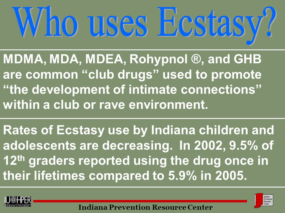 Rates of Ecstasy use by Indiana children and adolescents are decreasing.
