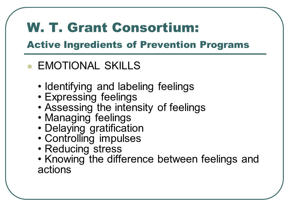 W. T. Grant Consortium: Active Ingredients of Prevention Programs EMOTIONAL SKILLS Identifying and labeling feelings Expressing feelings Assessing the