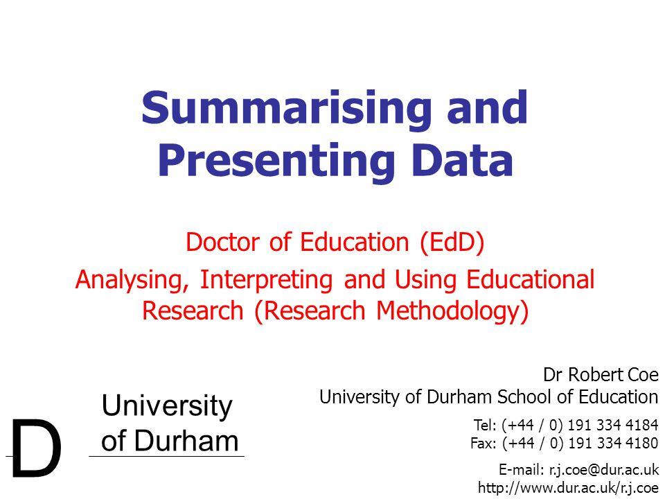 © 2005 Robert Coe, University of Durham 12 Standard deviation (graphically) Standard Deviation Mean ± 1 Standard Deviation 1/61/6 1/61/6 1/61/6 1/61/6 1/61/6 1/61/6  2 / 3 of the population Mean ± 2 Standard Deviations  95% of the population