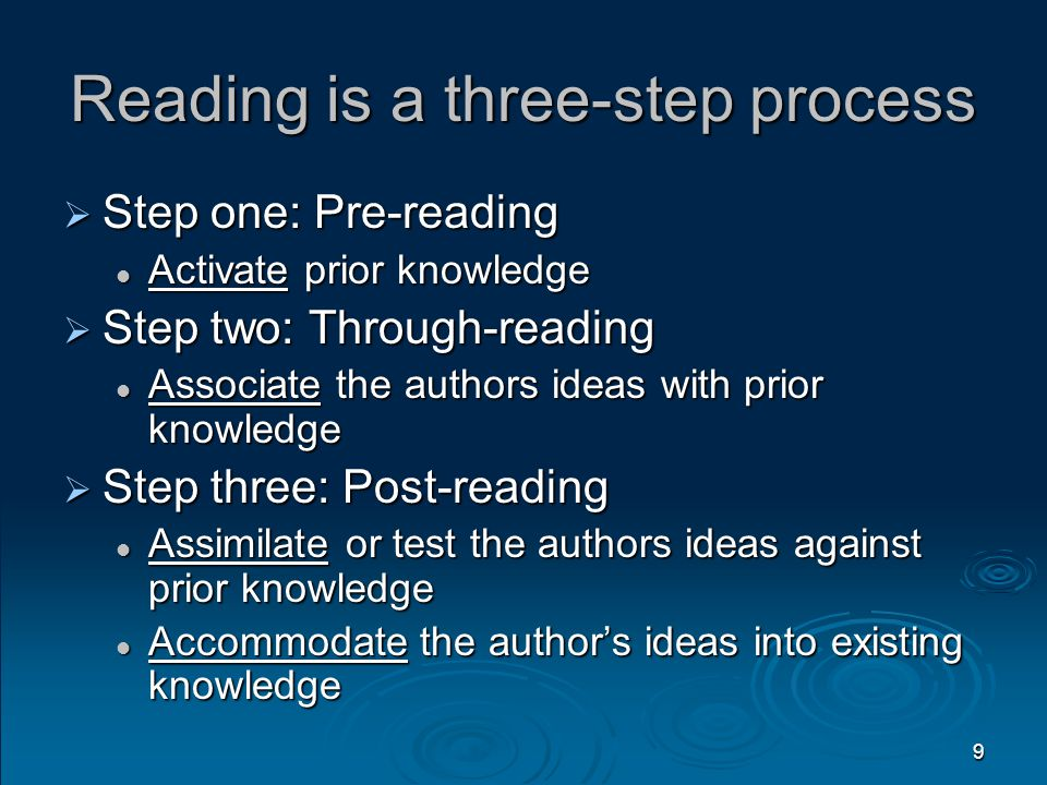 9 Reading is a three-step process  Step one: Pre-reading Activate prior knowledge Activate prior knowledge  Step two: Through-reading Associate the authors ideas with prior knowledge Associate the authors ideas with prior knowledge  Step three: Post-reading Assimilate or test the authors ideas against prior knowledge Assimilate or test the authors ideas against prior knowledge Accommodate the author's ideas into existing knowledge Accommodate the author's ideas into existing knowledge