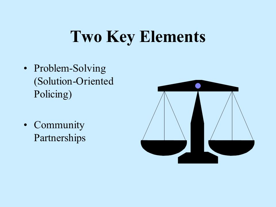 Community Oriented Policing We / They Partnerships Broken Windows Officer Expertise Citizen is a Resource Improved PCR Variety of Strategies / Tactics