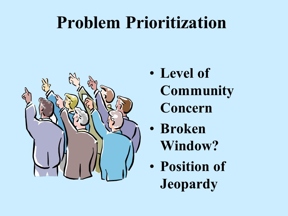 Ways to Identify Problems Businesses National Organizations Newspaper Community Groups Internal Units Churches, Schools, etc. Crime analysis