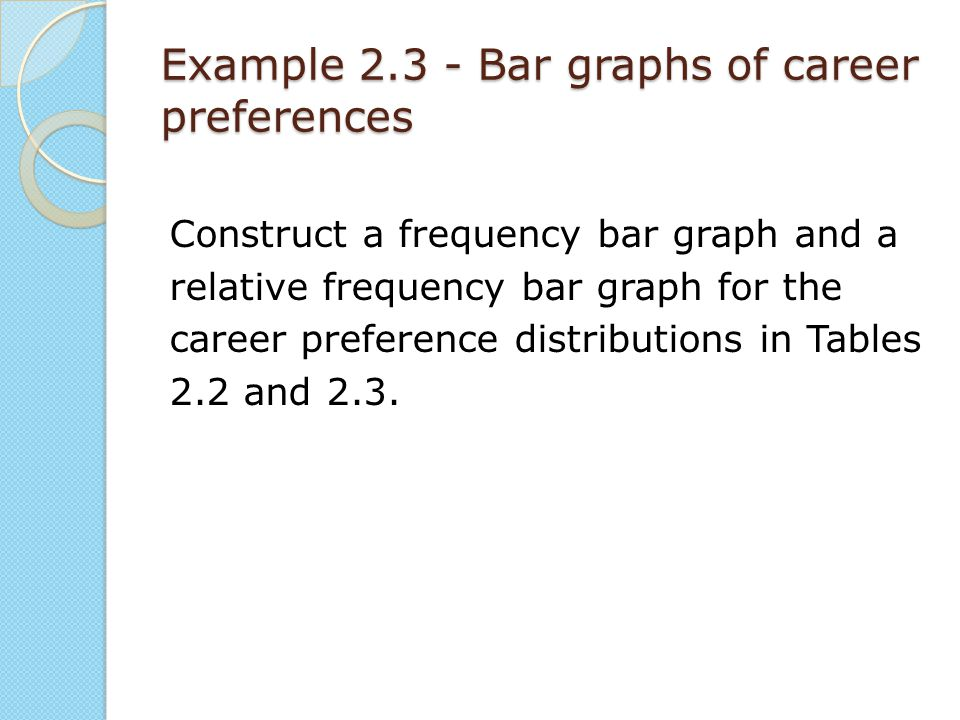 Example 2.3 - Bar graphs of career preferences Construct a frequency bar graph and a relative frequency bar graph for the career preference distributi