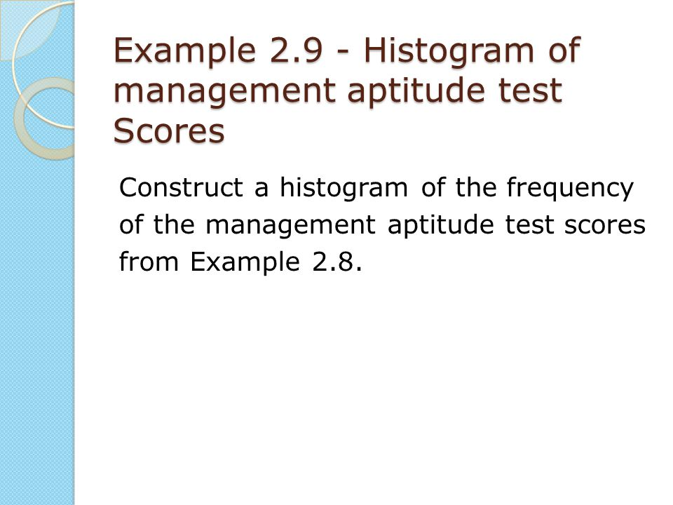 Example 2.9 - Histogram of management aptitude test Scores Construct a histogram of the frequency of the management aptitude test scores from Example