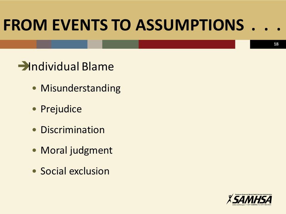 FROM EVENTS TO ASSUMPTIONS...