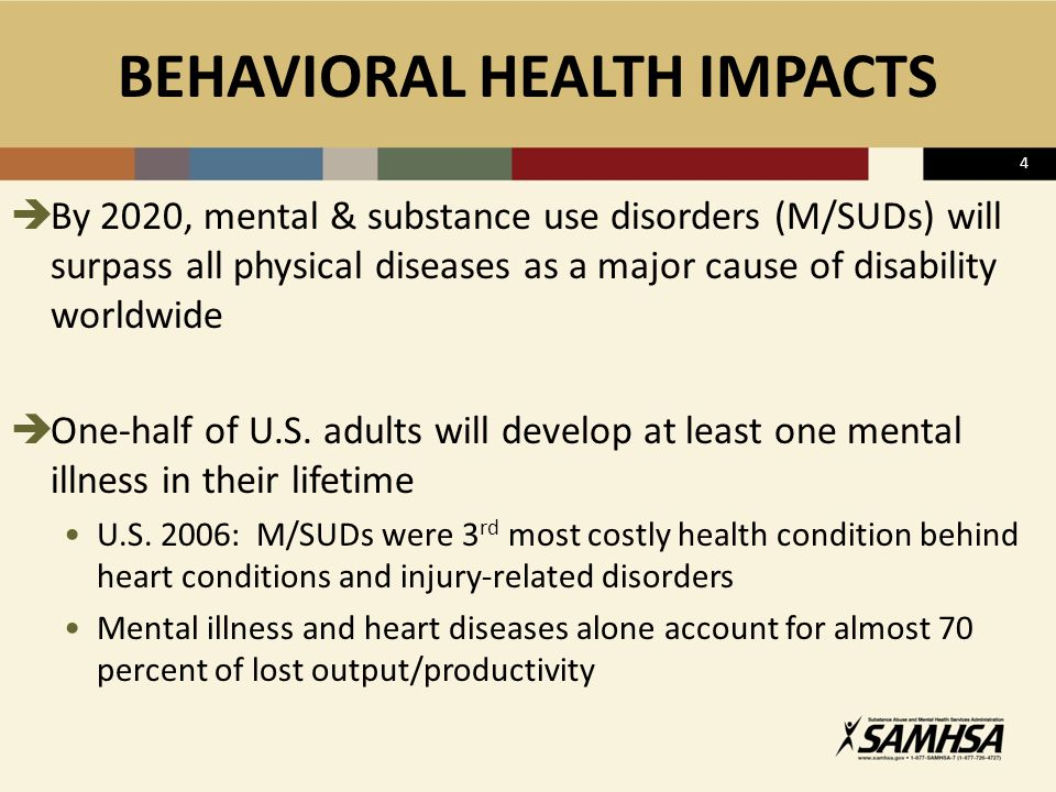  By 2020, mental & substance use disorders (M/SUDs) will surpass all physical diseases as a major cause of disability worldwide  One-half of U.S.