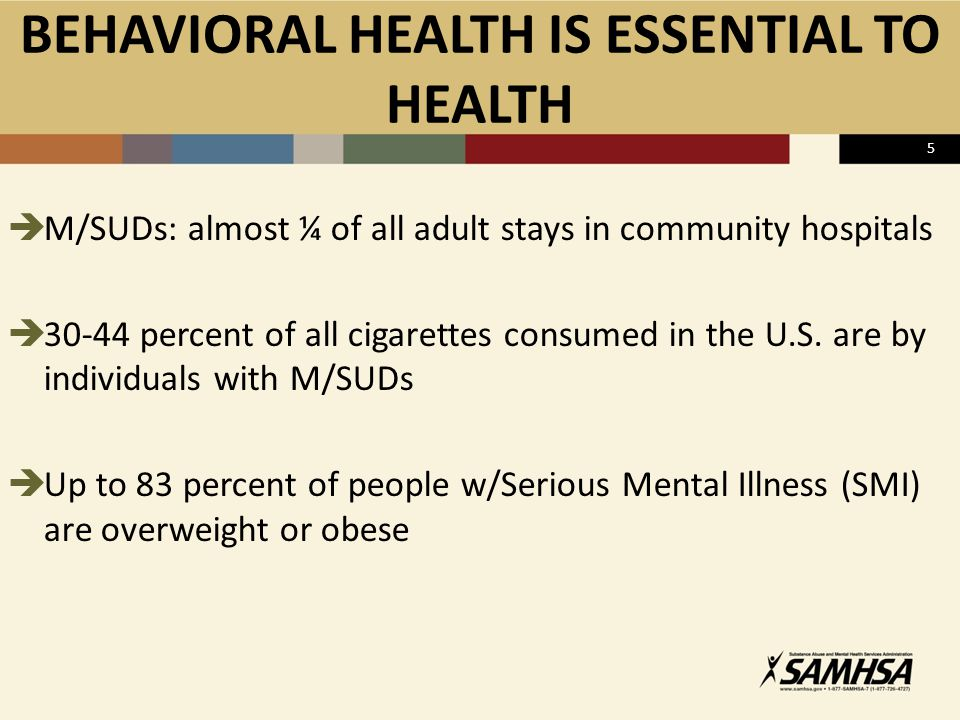  M/SUDs: almost ¼ of all adult stays in community hospitals  30-44 percent of all cigarettes consumed in the U.S.