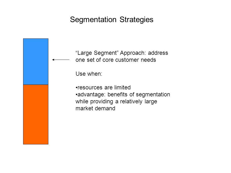 "Segmentation Strategies ""Large Segment"" Approach: address one set of core customer needs Use when: resources are limited advantage: benefits of segmen"