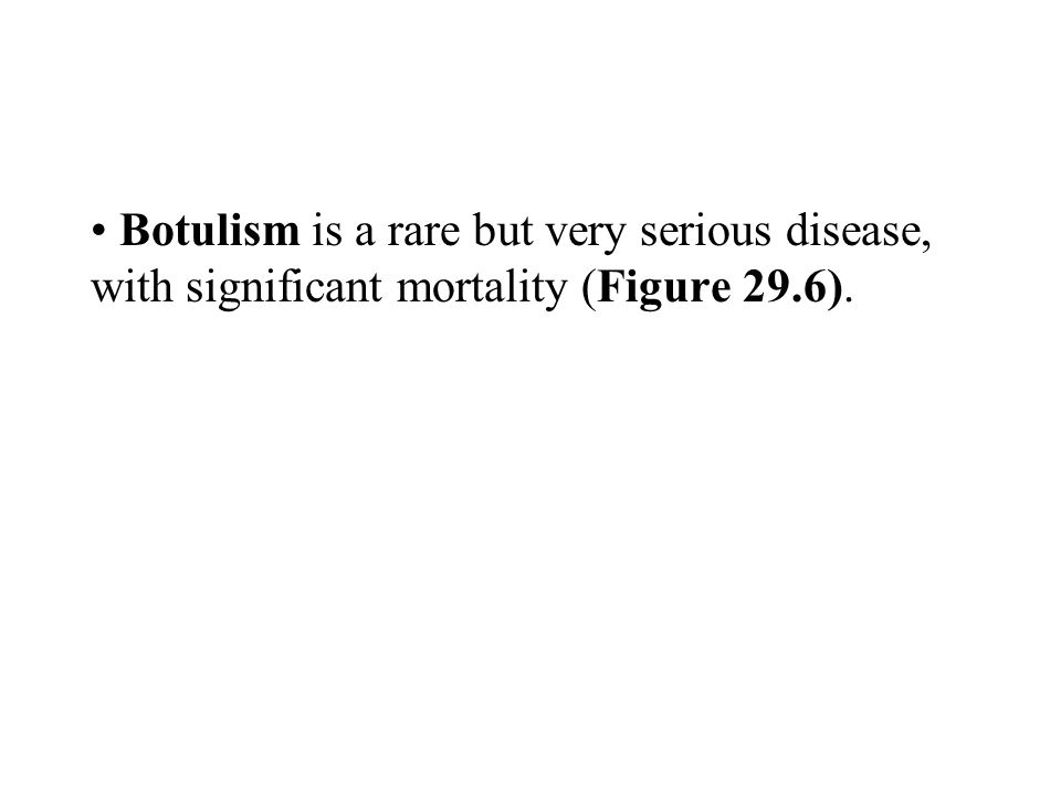 Botulism is a rare but very serious disease, with significant mortality (Figure 29.6).