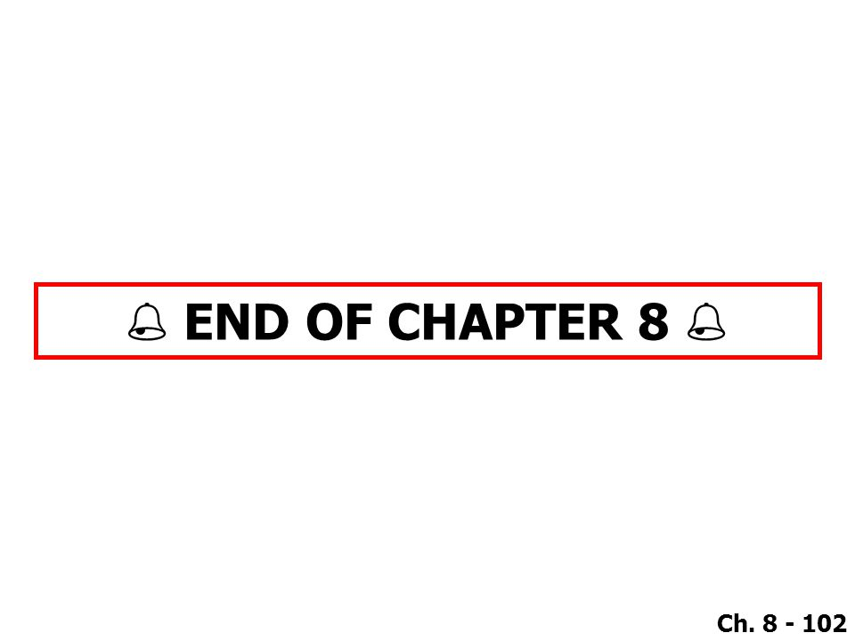 Ch. 8 - 102  END OF CHAPTER 8 