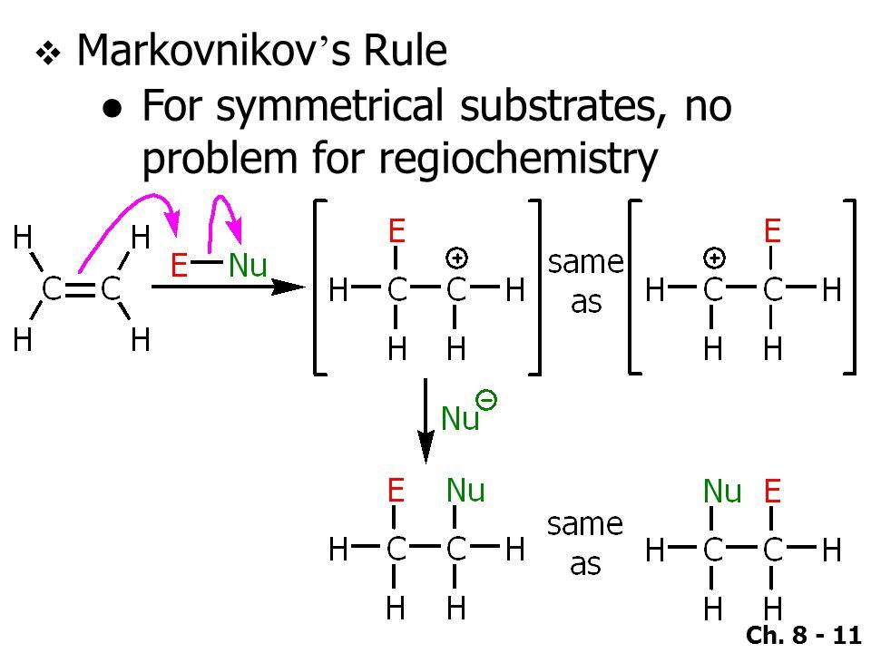 Ch. 8 - 11  Markovnikov ' s Rule ●For symmetrical substrates, no problem for regiochemistry