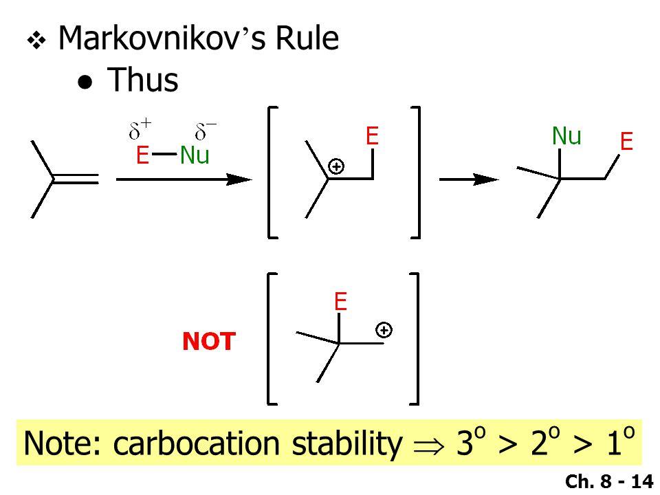 Ch. 8 - 14  Markovnikov ' s Rule ●Thus Note: carbocation stability  3 o > 2 o > 1 o