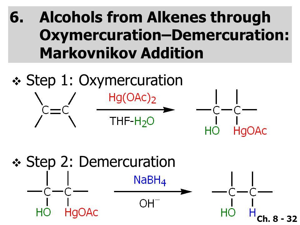 Ch. 8 - 32 6.Alcohols from Alkenes through Oxymercuration–Demercuration: Markovnikov Addition  Step 1: Oxymercuration  Step 2: Demercuration