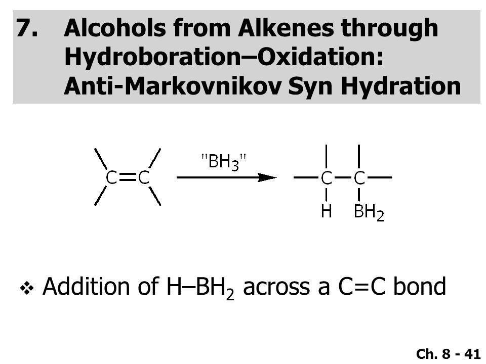 Ch. 8 - 41 7.Alcohols from Alkenes through Hydroboration–Oxidation: Anti-Markovnikov Syn Hydration  Addition of H–BH 2 across a C=C bond
