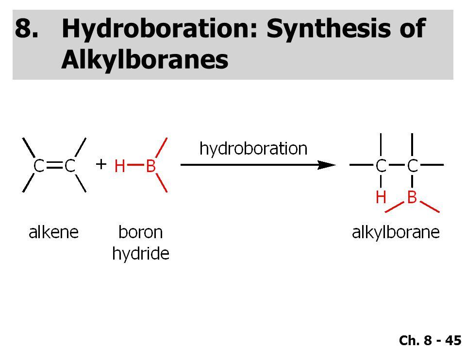 Ch. 8 - 45 8.Hydroboration: Synthesis of Alkylboranes