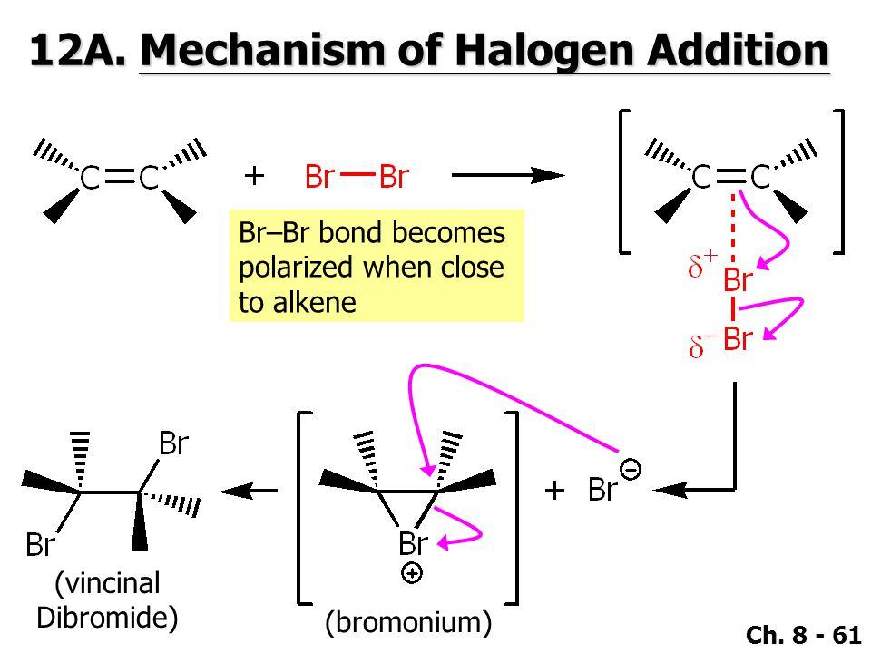 Ch. 8 - 61 12A. Mechanism of Halogen Addition Br–Br bond becomes polarized when close to alkene (vincinal Dibromide) (bromonium)