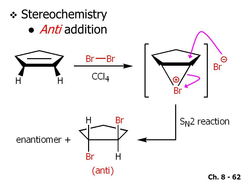 Ch. 8 - 62  Stereochemistry ●Anti addition