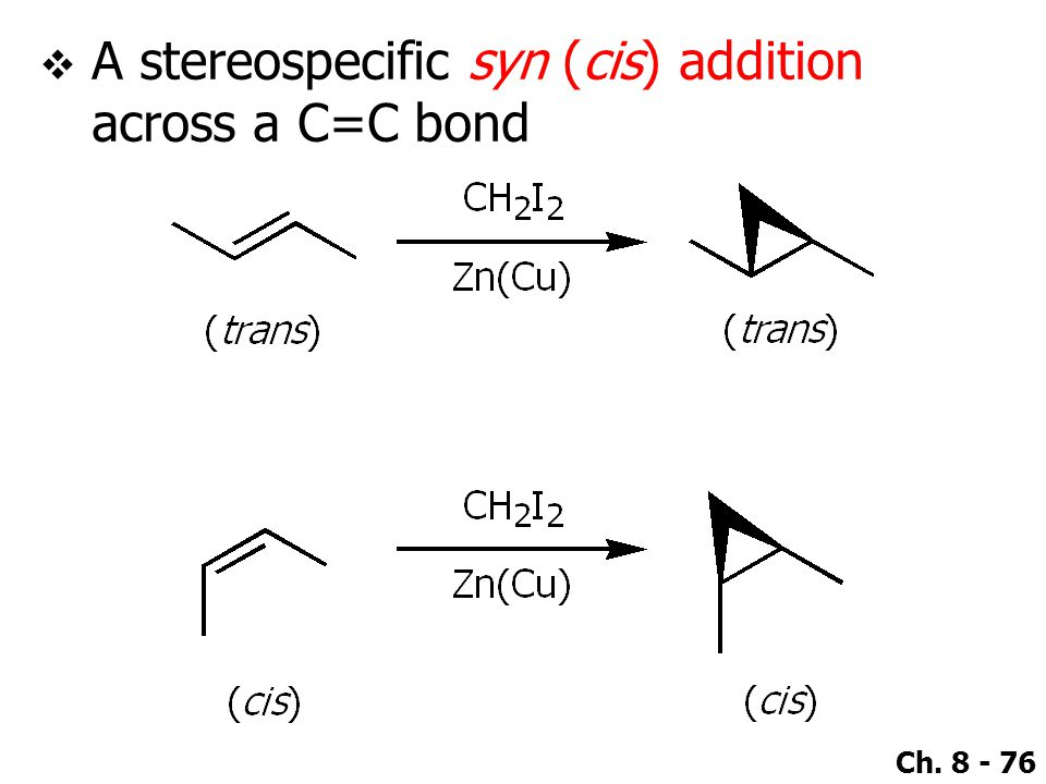 Ch. 8 - 76  A stereospecific syn (cis) addition across a C=C bond
