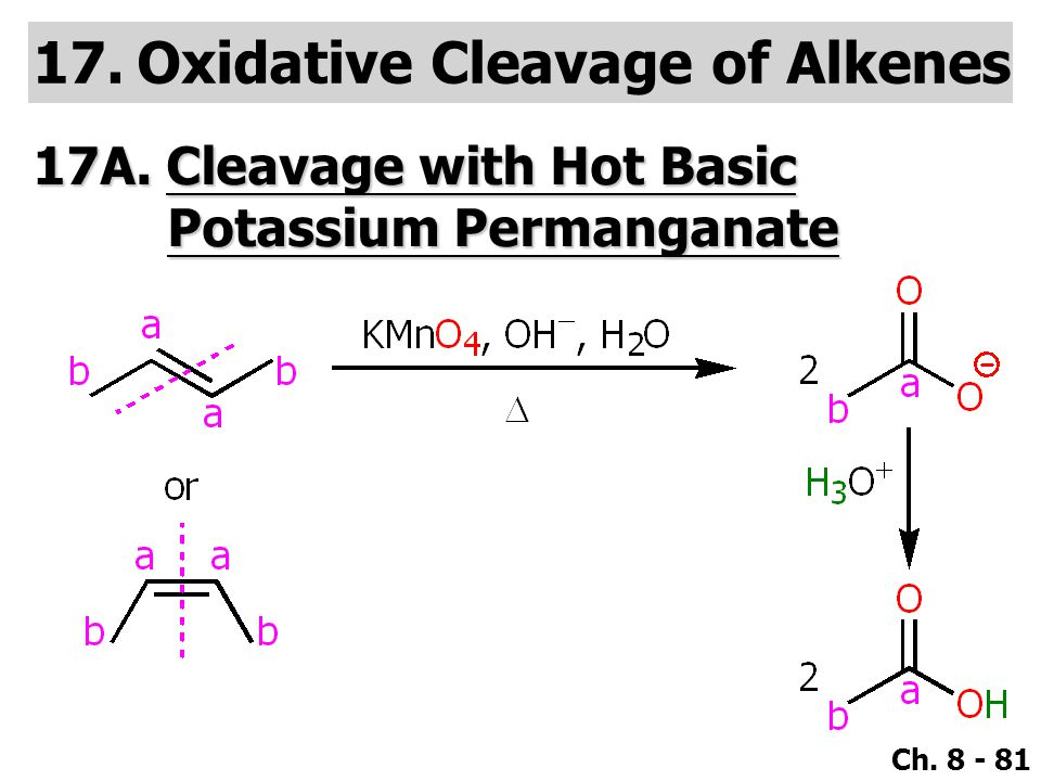 Ch. 8 - 81 17.Oxidative Cleavage of Alkenes 17A. Cleavage with Hot Basic Potassium Permanganate