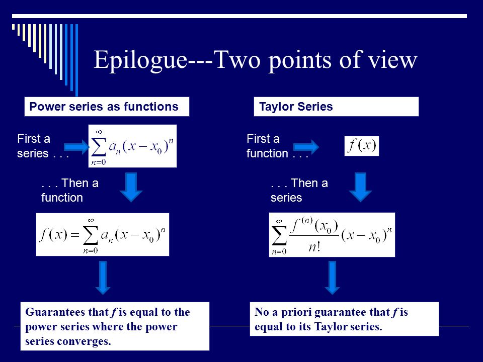 Epilogue---Two points of view Power series as functions First a series......