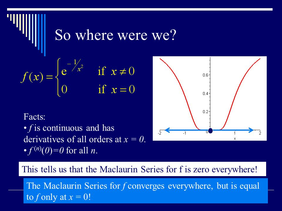 So where were we. Facts: f is continuous and has derivatives of all orders at x = 0.