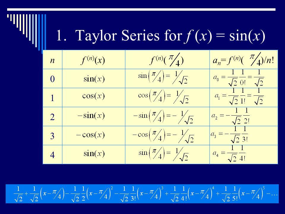 1. Taylor Series for f (x) = sin(x) nf (n) (x)f (n) ( )a n = f (n) ( )/n! 0 1 2 3 4