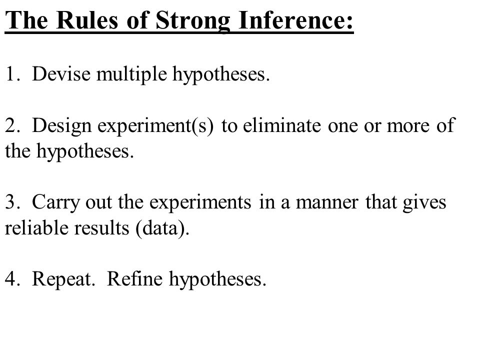The Rules of Strong Inference: 1. Devise multiple hypotheses. 2. Design experiment(s) to eliminate one or more of the hypotheses. 3. Carry out the exp