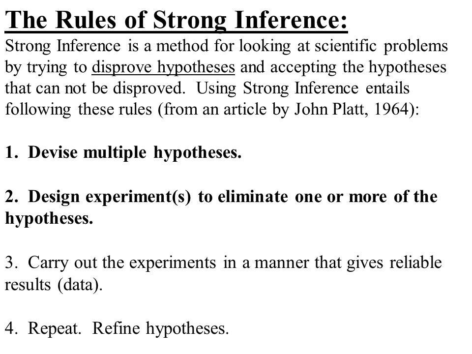 The Rules of Strong Inference: Strong Inference is a method for looking at scientific problems by trying to disprove hypotheses and accepting the hypo