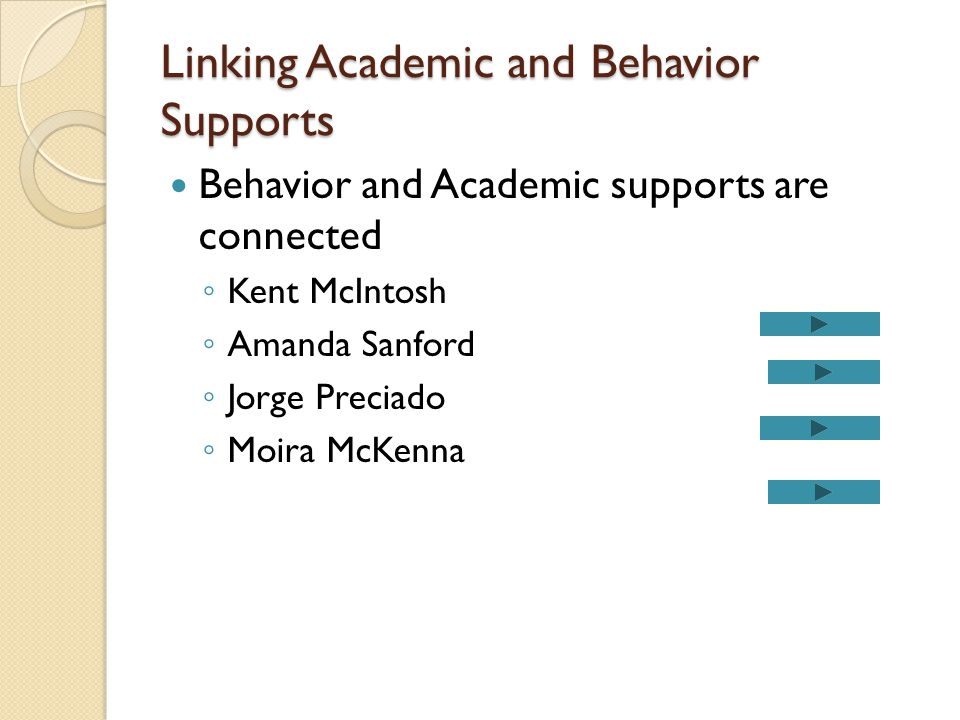 Linking Academic and Behavior Supports Behavior and Academic supports are connected ◦ Kent McIntosh ◦ Amanda Sanford ◦ Jorge Preciado ◦ Moira McKenna