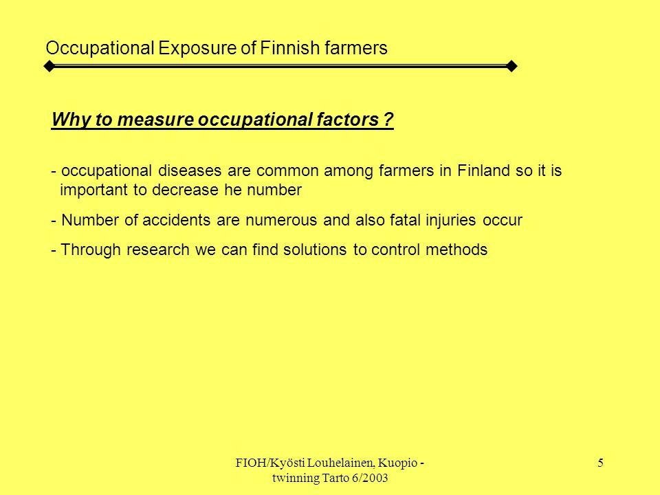 FIOH/Kyösti Louhelainen, Kuopio - twinning Tarto 6/2003 5 Occupational Exposure of Finnish farmers Why to measure occupational factors .