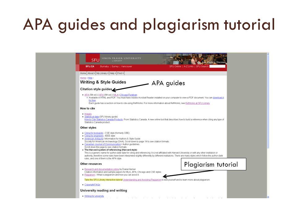 APA guides and plagiarism tutorial APA guides Plagiarism tutorial