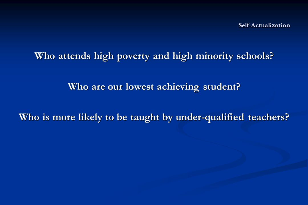 Self-Actualization Who attends high poverty and high minority schools.