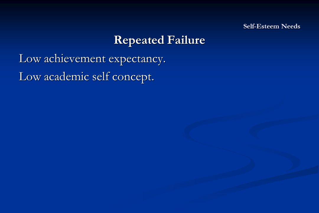 Self-Esteem Needs Repeated Failure Low achievement expectancy. Low academic self concept.