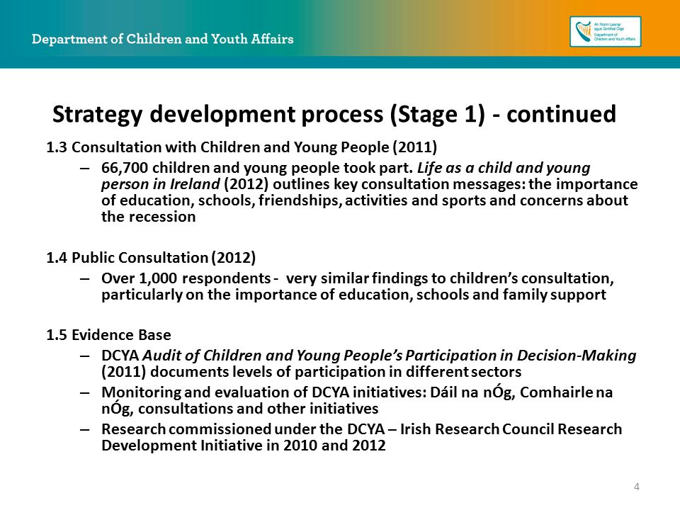 1.3 Consultation with Children and Young People (2011) – 66,700 children and young people took part.