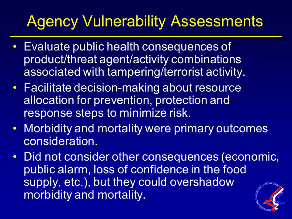 Agency Vulnerability Assessments Evaluate public health consequences of product/threat agent/activity combinations associated with tampering/terrorist activity.