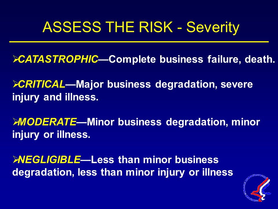 ASSESS THE RISK - Severity  CATASTROPHIC—Complete business failure, death.