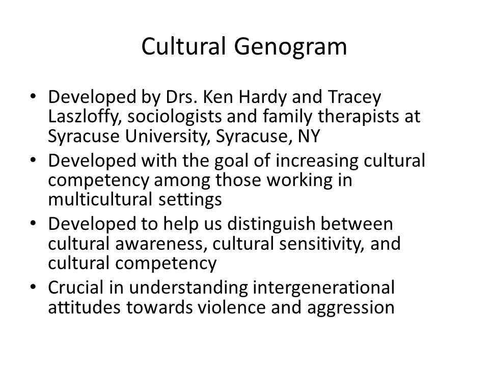 Cultural Genogram Developed by Drs. Ken Hardy and Tracey Laszloffy, sociologists and family therapists at Syracuse University, Syracuse, NY Developed