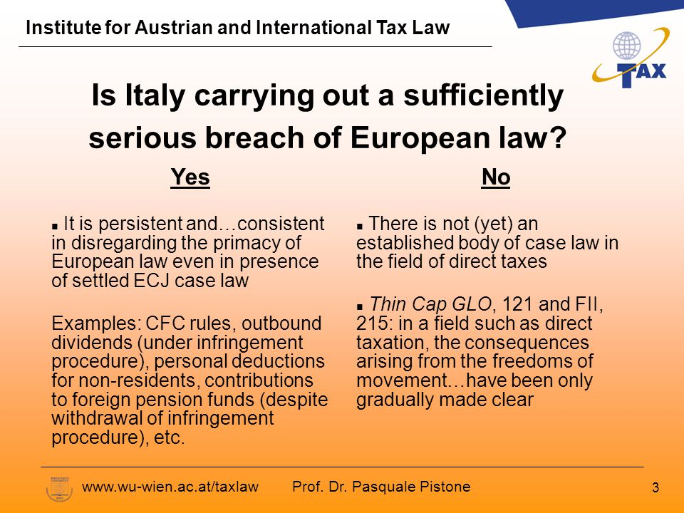 Prof. Dr. Pasquale Pistone Institute for Austrian and International Tax Law www.wu-wien.ac.at/taxlaw 3 Is Italy carrying out a sufficiently serious br