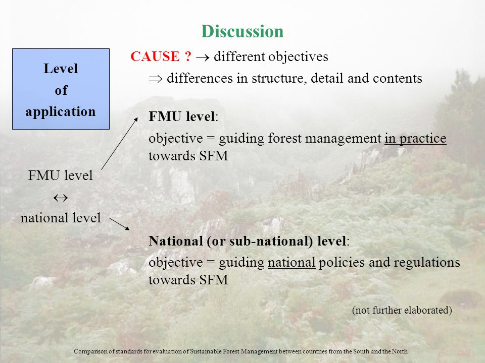 Discussion CAUSE ?  different objectives  differences in structure, detail and contents FMU level: objective = guiding forest management in practice