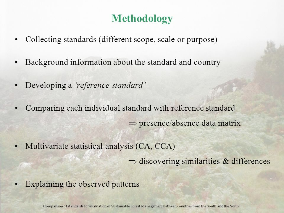 Methodology Collecting standards (different scope, scale or purpose) Background information about the standard and country Developing a 'reference sta