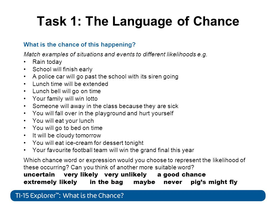 Task 1: The Language of Chance What is the chance of this happening.