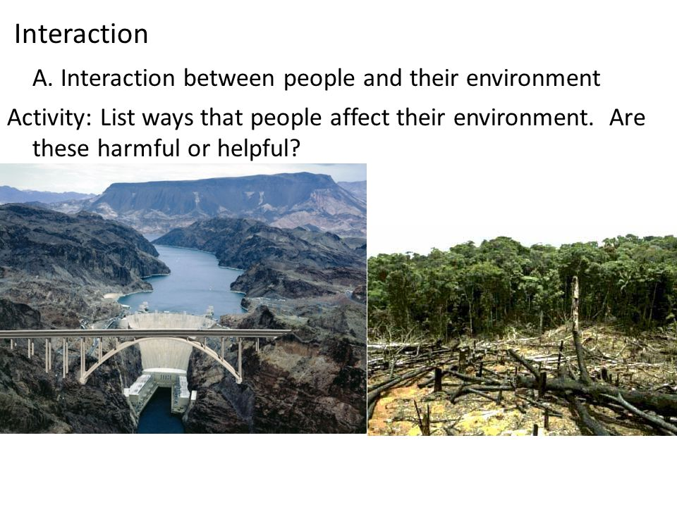 Interaction A. Interaction between people and their environment Activity: List ways that people affect their environment. Are these harmful or helpful